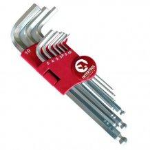 Набор Г-образных шестигранных ключей с шарообразным наконечником Intertool 9 предметов 1.5-10 мм, Cr-V, 55 HRC Big (HT-0603)
