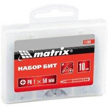 Набор бит Ph1 х 50 мм,сталь 45Х, 10 шт., в пластиковом боксе МТХ (113809)
