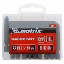 Набор бит Ph2 x 50 мм, сталь 45Х, 10 шт., в пластиковом боксе MTX (113829)