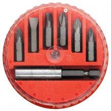Набор бит, магнитный адаптер для бит, сталь 45Х, 7 предм., в пласт. закрытом боксе MTX (113929)
