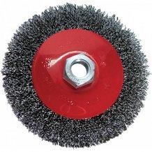 """Щетка для УШМ, 100 мм, М14, """"тарелка"""", витая проволока MTX (746089)."""
